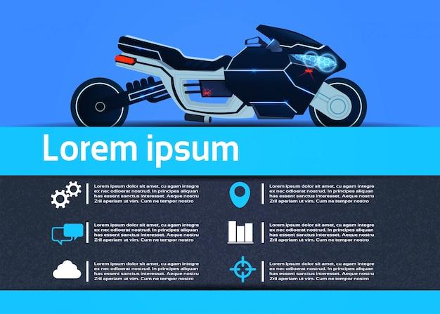 Modèle infographique de moto hybride