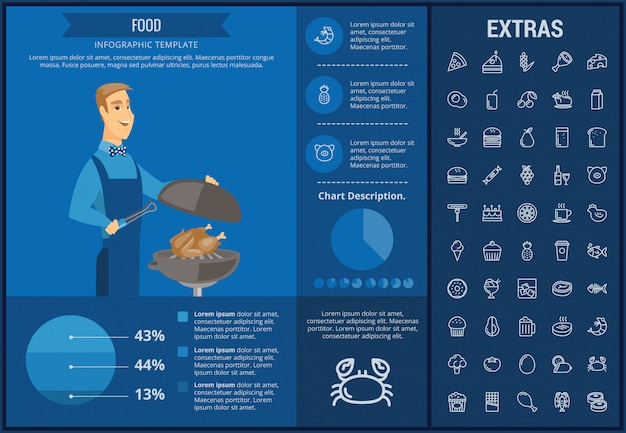 Modèle infographique de nourriture, des éléments et des icônes