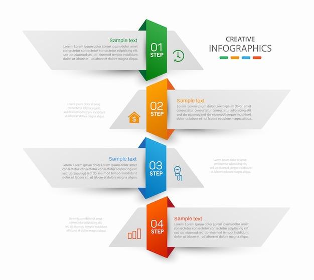 Modèle infographique avec options ou étapes
