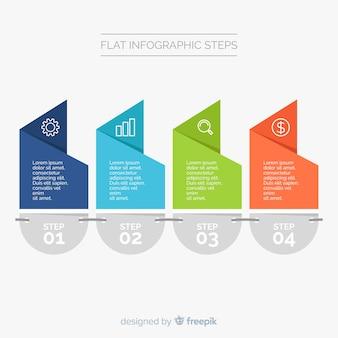 Modèle infographique plat avec étapes