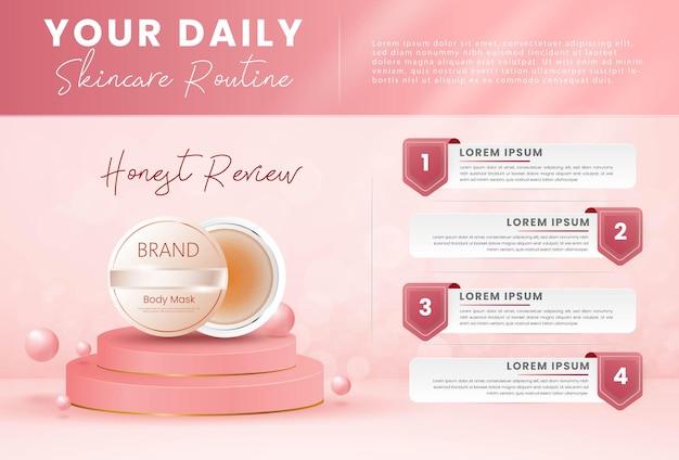 Modèle infographique de produit cosmétique de soins de beauté de soins de la peau réaliste