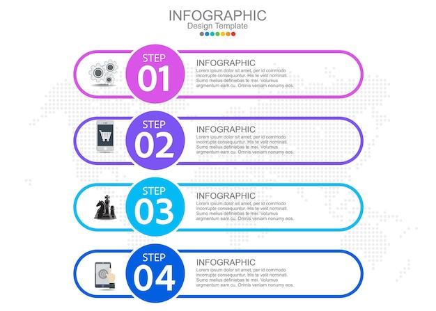 Modèle infographique avec quatre options et icônes.