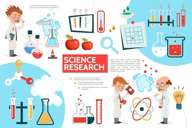Modèle infographique de science plate