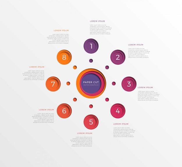 Modèle infographique simple en huit étapes avec des éléments coupés de papier rond