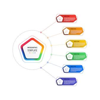 Modèle infographique de six étapes avec pentagones et éléments polygonaux sur fond blanc. visualisation de processus d'affaires moderne avec des icônes de marketing en ligne mince.
