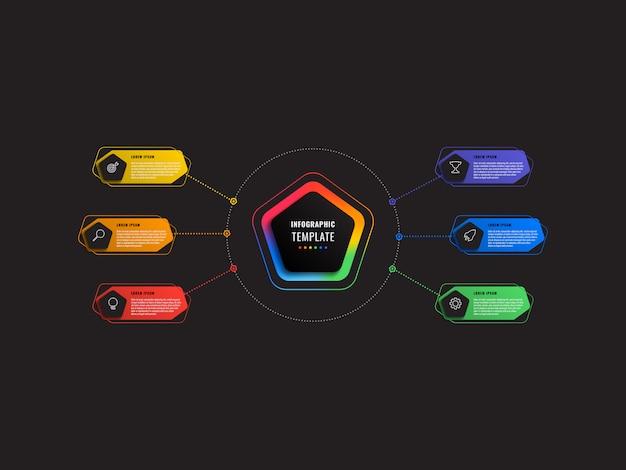 Modèle infographique de six étapes avec pentagones et éléments polygonaux sur fond noir. visualisation des processus d'affaires modernes avec des icônes de marketing en ligne mince.