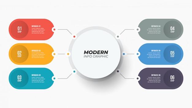 Modèle infographique avec six étapes