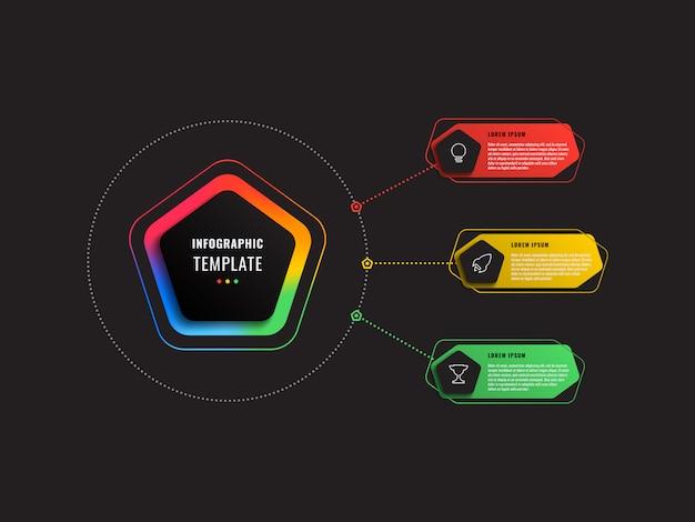 Modèle infographique en trois étapes avec pentagones et éléments polygonaux sur fond noir