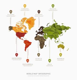 Modèle infographique de vecteur carte monde