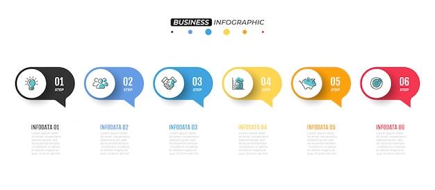 Modèle infographique de vecteur. chronologie avec 6 options.