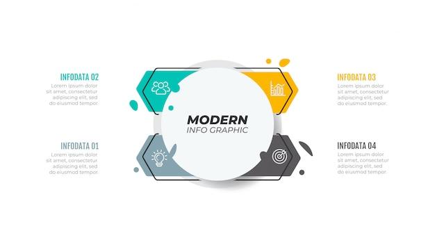Modèle infographique de vecteur. concept d'entreprise avec étape, option, flèche.