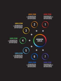 Modèle infographique vertical 7 étapes avec papier rond éléments coupés sur fond noir. diagramme de processus d'affaires.