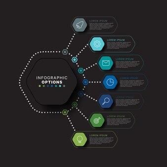 Modèle infographique vertical avec sept éléments hexagonaux multicolores sur fond noir