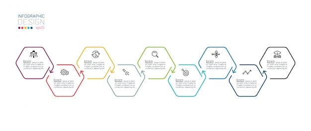 Modèle inforgraphic hexagone sur les arts graphiques vectoriels.