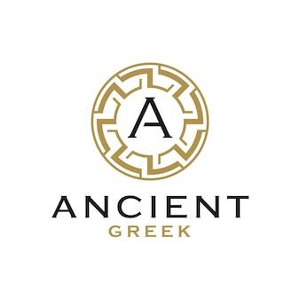 Modèle initial de conception de logo de cadre de frontière grecque antique