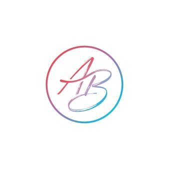 Modèle initial de vecteur de conception de logo de lettre ab