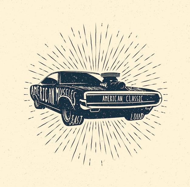 Modèle d'insigne d'étiquette de voiture de muscle des années 70. illustration de style vintage.