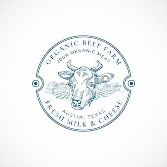 Modèle d'insigne ou de logo de ferme de boeuf et de lait.