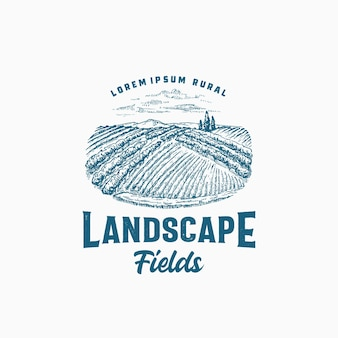 Modèle d'insigne ou de logo rétro de champs ruraux.