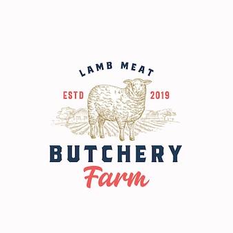 Modèle d'insigne ou de logo rétro de ferme de viande d'agneau.