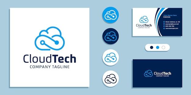 Modèle d'inspiration de conception de logo de technologie de données cloud et de carte de visite