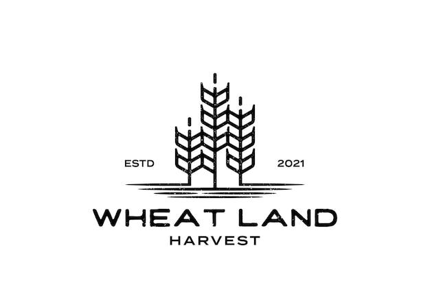 Modèle d'inspiration de conception de logo de terre de blé ou de grain