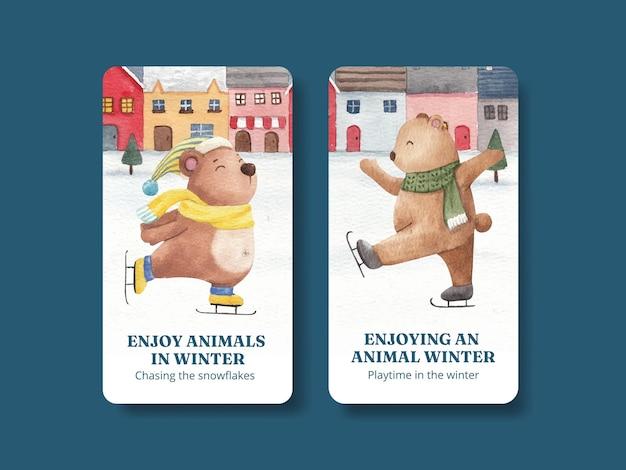 Modèle instagram d'animaux d'hiver