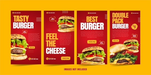 Modèle instagram burger pour la publicité sur les réseaux sociaux vecteur premium