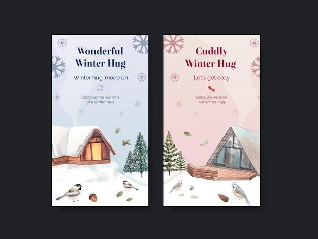 Modèle instagram avec câlin d'hiver dans un style aquarelle