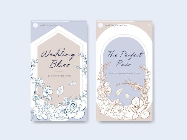 Modèle instagram avec cérémonie de mariage pour les médias sociaux