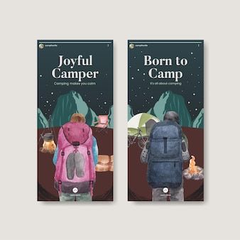Modèle instagram avec concept de campeur heureux