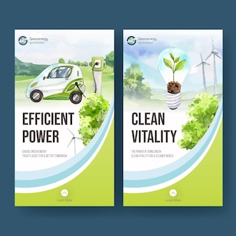 Modèle instagram avec concept d'énergie verte dans un style aquarelle