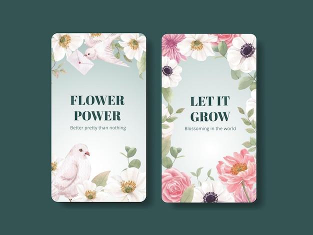 Modèle instagram avec concept de fleurs cottagecore, style aquarelle