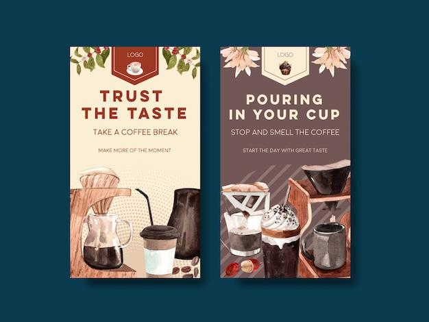 Modèle instagram avec le concept de la journée internationale du café