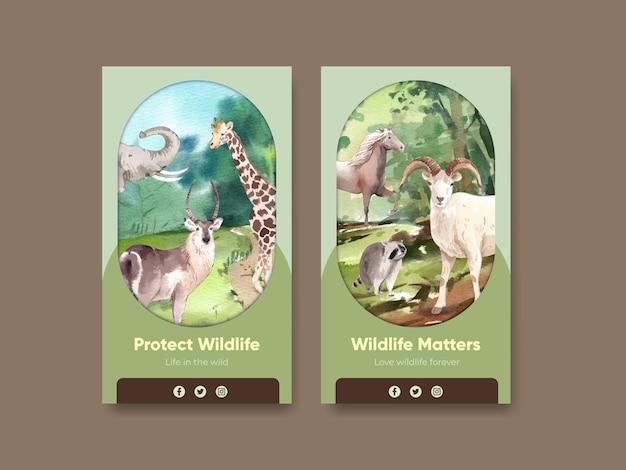 Modèle instagram avec le concept de la journée mondiale des animaux dans un style aquarelle