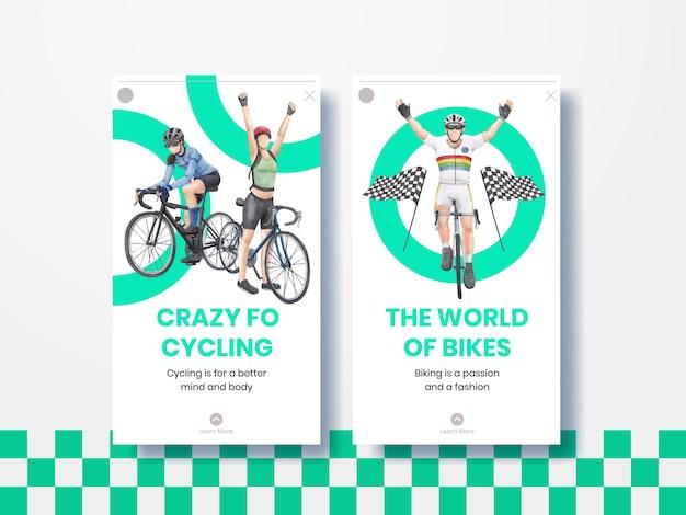 Modèle instagram avec le concept de la journée mondiale de la bicyclette, style aquarelle