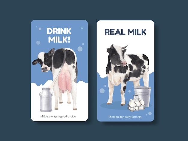 Modèle instagram avec le concept de la journée mondiale du lait, style aquarelle