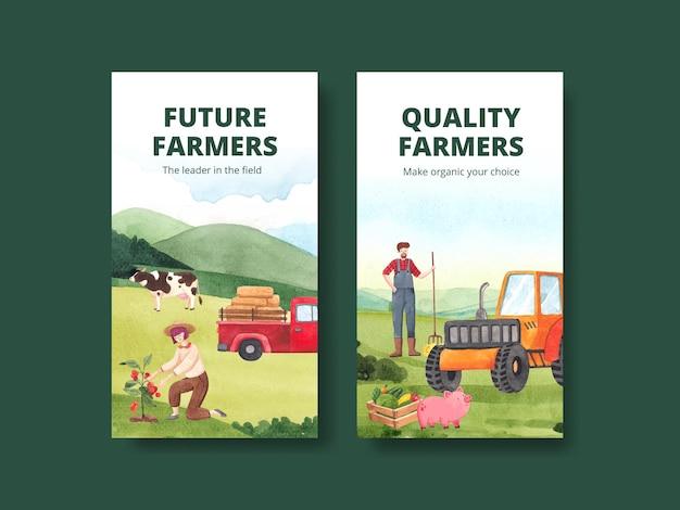 Modèle instagram avec le concept de la journée nationale des agriculteurs, style aquarelle