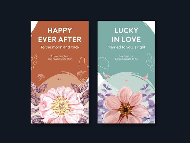Modèle instagram avec concept de mariage de bonheur dans un style aquarelle