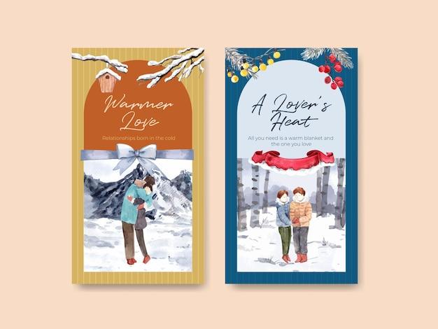 Modèle instagram avec conception de concept d'amour d'hiver pour les médias sociaux et illustration vectorielle aquarelle internet