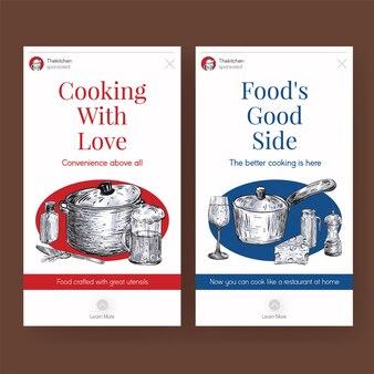 Modèle instagram avec conception de concept d'appareils de cuisine pour illustration vectorielle de médias sociaux