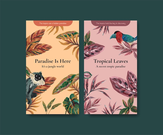 Modèle instagram avec conception de concept contemporain tropical pour les médias sociaux et illustration aquarelle de communauté en ligne