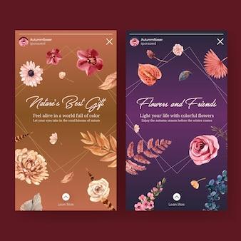 Modèle instagram avec conception de concept de fleur d'automne pour les médias sociaux et l'illustration aquarelle de marketing numérique.