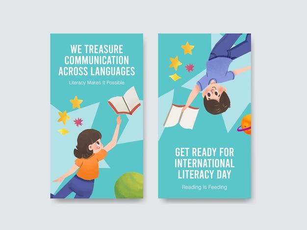 Modèle instagram avec la conception de concept de la journée internationale de l'alphabétisation pour le marketing en ligne