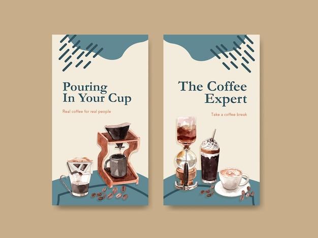 Modèle instagram avec conception de concept de journée internationale du café