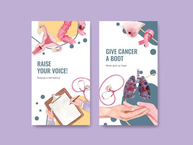 Modèle instagram avec conception de concept de journée mondiale du cancer pour les médias sociaux et illustration vectorielle aquarelle marketing numérique.