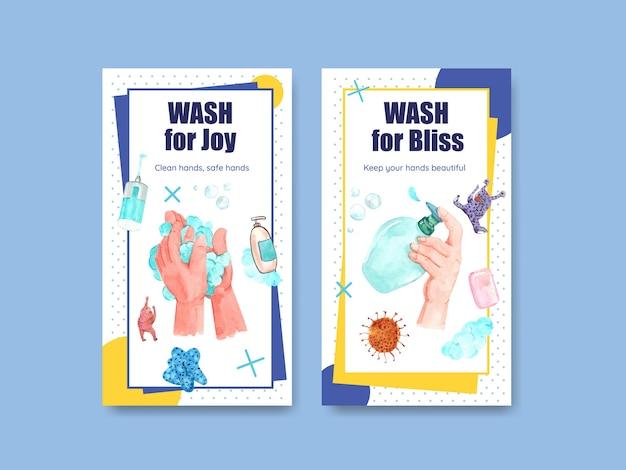 Modèle instagram avec conception de concept de journée mondiale du lavage des mains