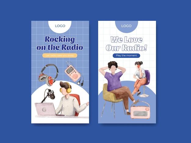 Modèle instagram avec conception de concept de journée mondiale de la radio pour les médias sociaux et l'illustration aquarelle de marketing numérique