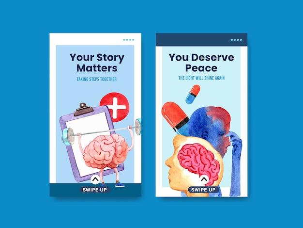 Modèle instagram avec conception de concept de journée mondiale de la santé mentale pour les médias sociaux et le marketing en ligne aquarelle vector illustraion.