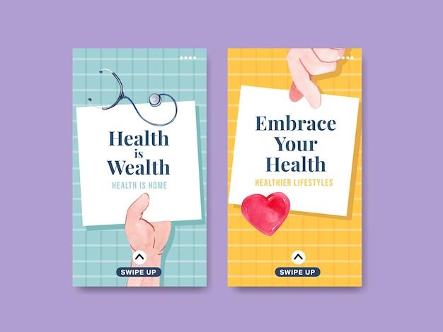 Modèle instagram avec conception de concept de journée mondiale de la santé mentale